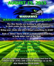 8-15-2015, Warhawks Sign Ups, Workout, 210 Bulls Head Road, Pottsville