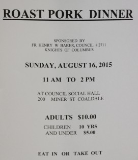8-16-2015, Roast Beef Dinner, Tamaqua Knights of Columbus, KOC Social Hall, Seek, Coaldale