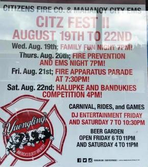 8-19 to 8-22-2015, Citz Fest, Citizen's Fire Company, Mahanoy City