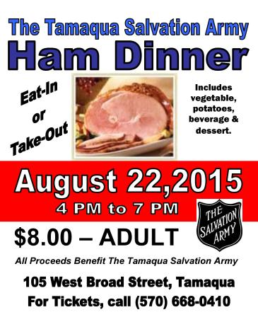 8-22-2015, Ham Dinner Fundraiser, Tamaqua Salvation Army, Tamaqua