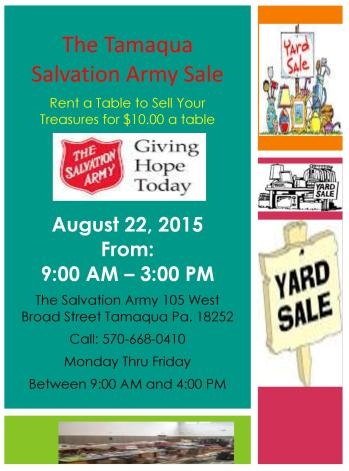 8-22-2015, Indoor Sale, Rent a Table, Tamaqua Salvation Army, Tamaqua