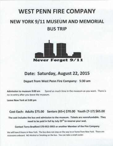 8-22-2015, Sept 11 Bus Trip to New York, benefits West Penn Fire Company, West Penn