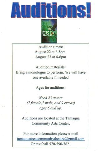 8-22, 23-2015, Auditions for CSI Neverland, Community Arts Center, Tamaqua