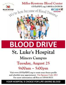 8-25-2015, Blood Drive, Miller Keystone, at St. Luke's Hospital, Coaldale