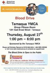 8-27-2015, Blood Drive, Red Cross, at Tamaqua YMCA, Tamaqua