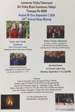 8-28 to 9-7-2015, Annual Camp Meeting, Ministry, Events, Lewistown Valley Tabernacle, Tamaqua, Walker Township