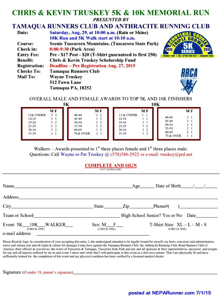 8-29-2015, Chris and Kevin Truskey 5K, 10K Memorial Run, Tuscarora State Park, Barnesville-page-001
