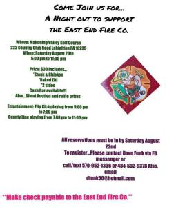 8-29-2015, Dinner Out to support East End Fire Company, Mahoning Valley Golf Course, Lehighton