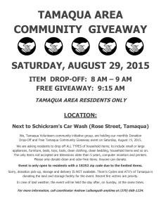 8-29-2015, Donation Drop-Off and Tamaqua Community Giveaway, M and M Storage, Tamaqua