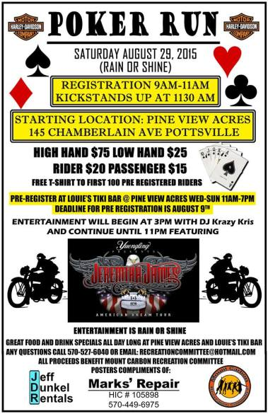 8-29-2015, Poker Run, for Mount Carbon Rec Committee, Pine View Acres, Pottsville