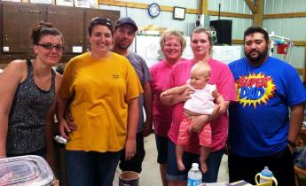 From left to right you have Krystal Bradford, Holly Watson(vice president) Josh Watson, hiding in the back is Yvonne Stoffey(treasurer/secretary), the one holding the baby is Heather Rodriguez and then Frank Rodriguez in the blue Shirt. And the baby is one of our CHOSE members in training Charlotte Watson.