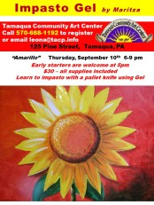 9-10-2015, Amarillo, Impasto Gel Class, Tamaqua Community Arts Center, Tamaqua