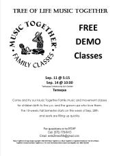 9-11, 14-2015, Music Together, Family Class, Free Demo Classes, Tamaqua Community Arts Center, Tamaqua