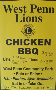 9-12-2015, Chicken BBQ, West Penn Lions Club, via West Penn Community Park, West Penn