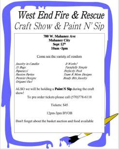 9-12-2015, Craft Show and Paint and Sip, West End Fire and Rescue, Mahanoy City