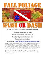 9-19-2015, 5K Run, 5K Walk, 1 Mile Youth Run, 1 Mile Lake Swim, Ryan Township Dive Recovery Team, Tuscarora Park, 2