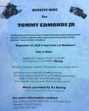9-19-2015, Benefit Ride for Tommy Edmonds Jr., Fast Frank's Place, Middleport