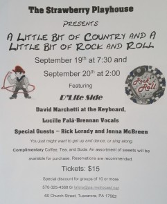 9-19-2015, Cabaret A Little Bit of County, and A Little Bit of Rock and Roll, Strawberry Playhouse, Tuscarora (2)