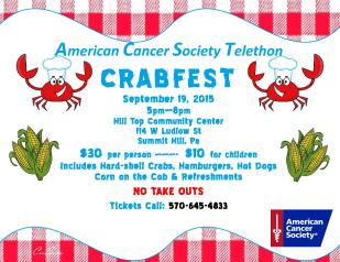 9-19-2015, Crabfest, benefits American Cancer Society Telethon, Hill Top Community Center, Summit Hill