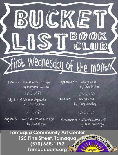 9-2, 10-7, 11-4-2015, Bucket List Book Club, Community Arts Center, Tamaqua