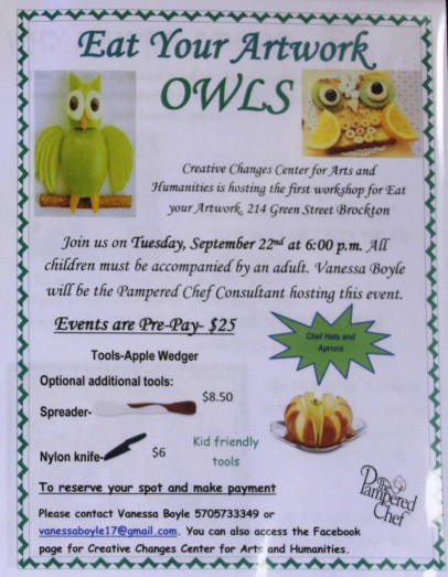9-22-2015, Eat Your Artwork, Owl, Creative Changes Center, Brockton