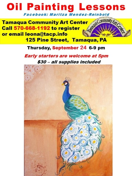 9-24-2015, Oil Panting Lessons, Peacock, Tamaqua Community Arts Center, Tamaqua-2