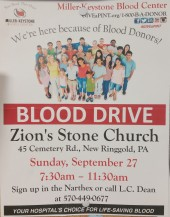 9-27-2015, Blood Drive, Miller Keystone Blood Center, Zion's Stone Church, New Ringgold