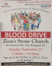 9-27-2015, Blood Drive, Miller Keystone Blood Center, Zion's Stone Church, New Ringgold