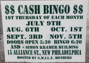 9-3, 10-1, 11-5-2015, Cash Bingo, S.M.I.L.E. Mothers, Simon Kramer Building, New Philadelphia