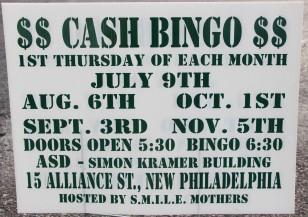 9-3, 10-1, 11-5-2015, Cash Bingo, S.M.I.L.E. Mothers, Simon Kramer Building, New Philadelphia