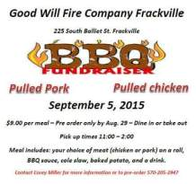 9-5-2015, BBQ Fundraiser, Must Preorder by Aug. 29, Good Will Fire Company, Frackville