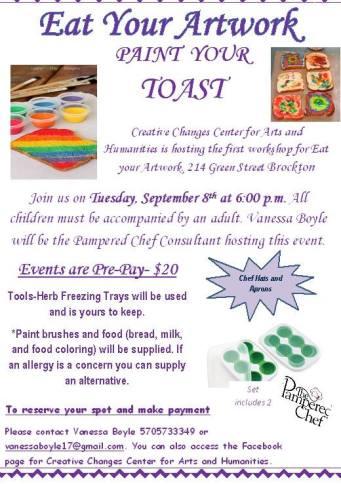 9-8-2015, Eat Your Artwork, Paint Your Toast, Creative Changes Center, Brockton