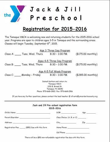 9-8-2015, Jack & Jill Registration, Tamaqua YMCA, Tamaqua