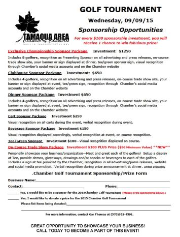 9-9-2015, Sponsorship Opportunities, Tamaqua Chamber of Commerce Golf Tournament, Tamaqua