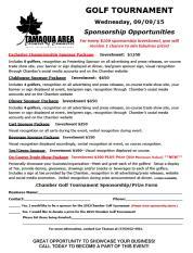 9-9-2015, Sponsorship Opportunities, Tamaqua Chamber of Commerce Golf Tournament, Tamaqua