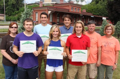 Announcement of Chris and Kevin Truskey 5K Scholarships, Dept Square Park, Tamaqua, 8-9-2015 (2)