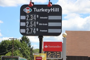 Turkey Hill in Tamaqua is advertising 2.349 for unleaded. If you time it right to get the 30 cents off, it will only cost you a about $2.05 a gallon.