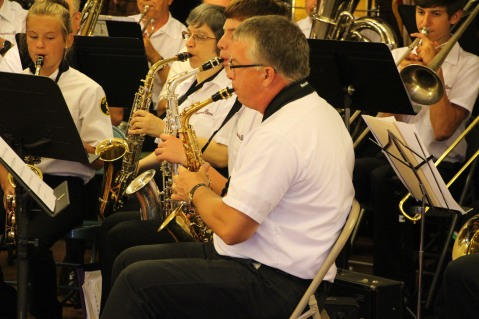 Cressona Band performs, Sheldon Shafer, Weatherwood, Weatherly, 7-27-2015 (12)
