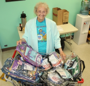 Pictured with some of the backpacks is Esther Stofocik, Social Worker, Tamaqua Salvation Army.