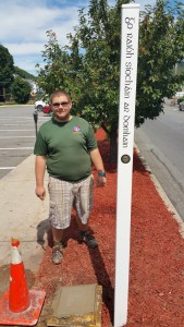 Installation of Peace Pole, via scout Bradly, Train Station Lot, Tamaqua, 8-22-2015 (2)