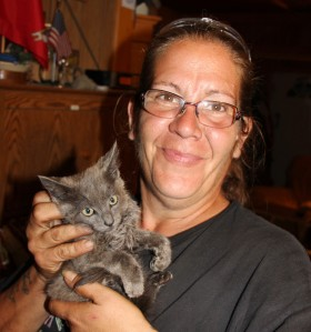 Tamaqua Area Animal Rescue volunteer and foster caregiver Tami Bieber holds one of the kittens rescued from the dumpster.