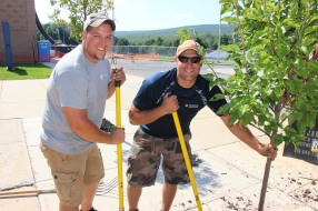 Lanscapers Replacing Trees in Front of Tamaqua High School, Tamaqua, 8-14-2015 (5)