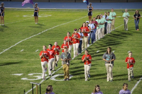 Raider Marching Band during Fall Meet The Raiders, TASD Sports Stadium, Tamaqua, 8-26-2015 (123)
