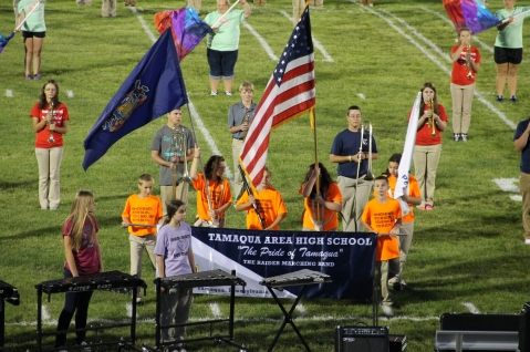 Raider Marching Band during Fall Meet The Raiders, TASD Sports Stadium, Tamaqua, 8-26-2015 (125)