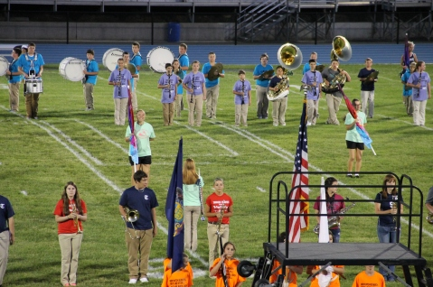 Raider Marching Band during Fall Meet The Raiders, TASD Sports Stadium, Tamaqua, 8-26-2015 (74)