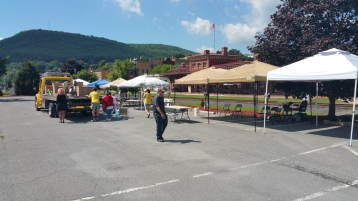 Setting Up For Salvation Army Kidz Karnival, Kids Carnival, Train Station Lot, Tamaqua, 8-4-2015 (1)