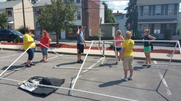 Setting Up For Salvation Army Kidz Karnival, Kids Carnival, Train Station Lot, Tamaqua, 8-4-2015 (12)