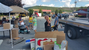 Setting Up For Salvation Army Kidz Karnival, Kids Carnival, Train Station Lot, Tamaqua, 8-4-2015 (21)
