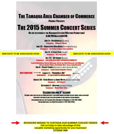 Tamaqua Chamber of Commerce Chamber Summer Concert Series (updated 7-10-2015)