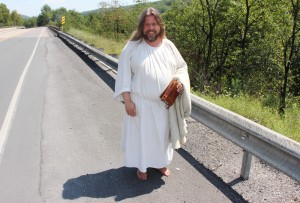 Pictured is 'What's His Name' walking along SR54 in Mahoning Township on August 15, 2015.